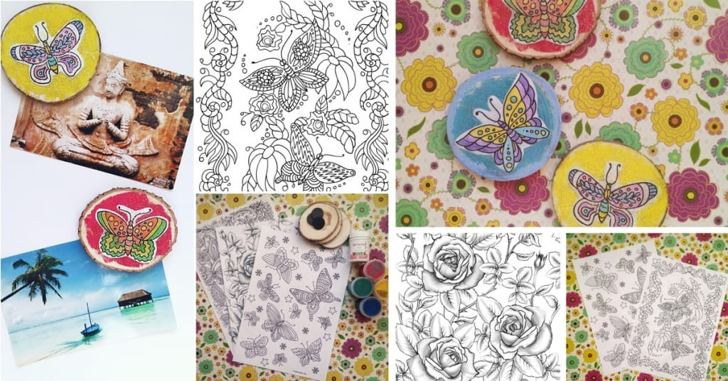 Turn Butterfly and Flower Coloring Pages for Adults into Stylish DIY Magnets