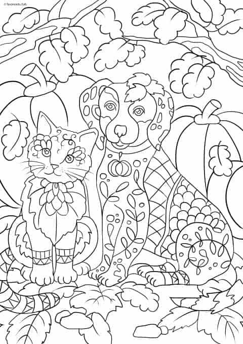 Cats and Dogs - Cat and Dog - Favoreads Coloring Club