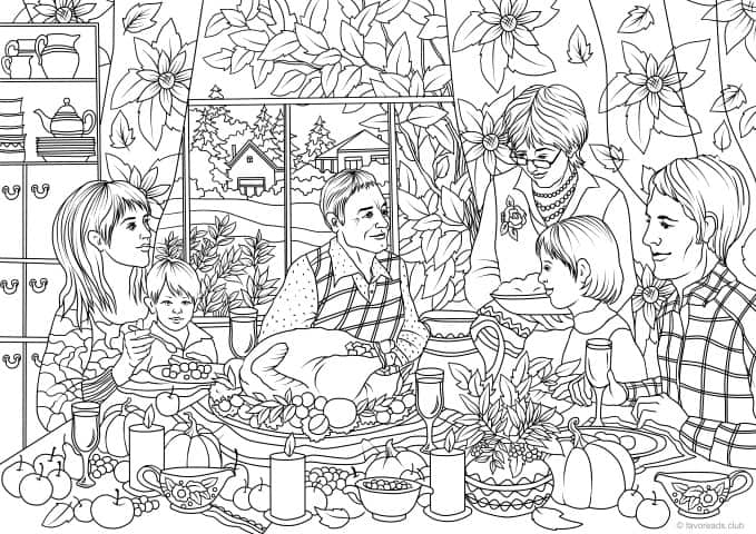 Thanksgiving Family Dinner – Favoreads Coloring Club