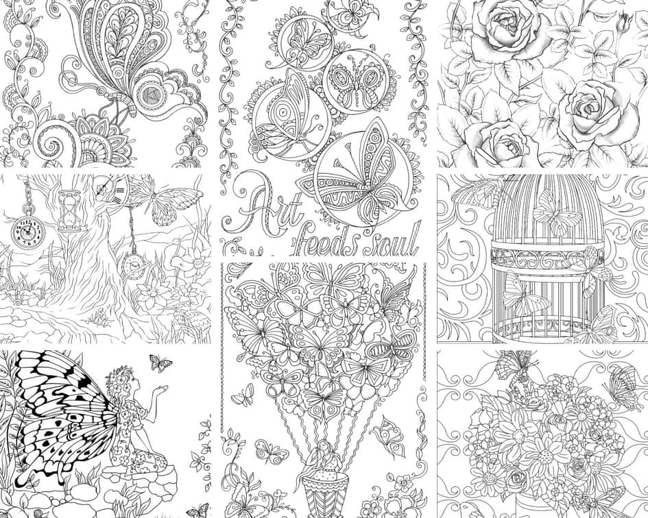 Flowers and Butterflies – 10 Coloring Pages