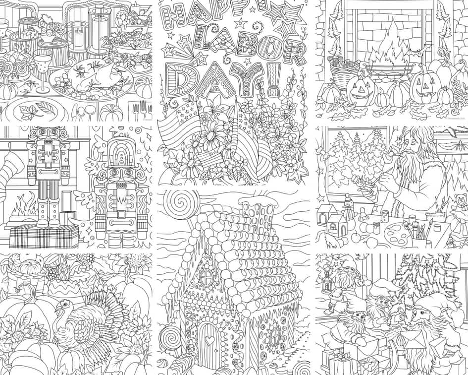 Holidays – 10 Coloring Pages