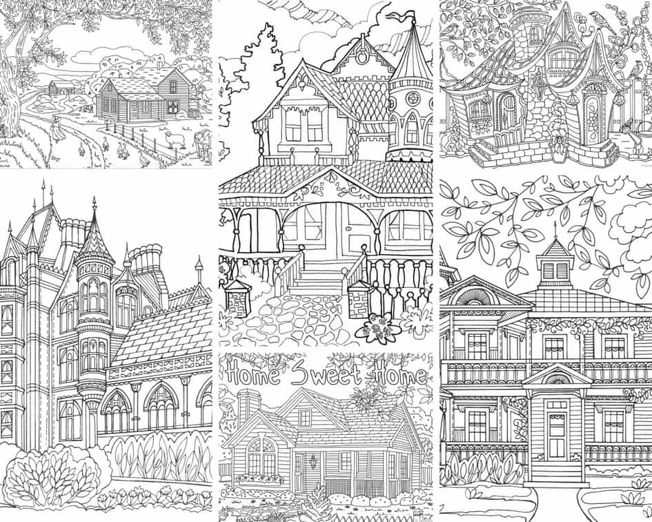Beautiful Houses – 10 Coloring Pages