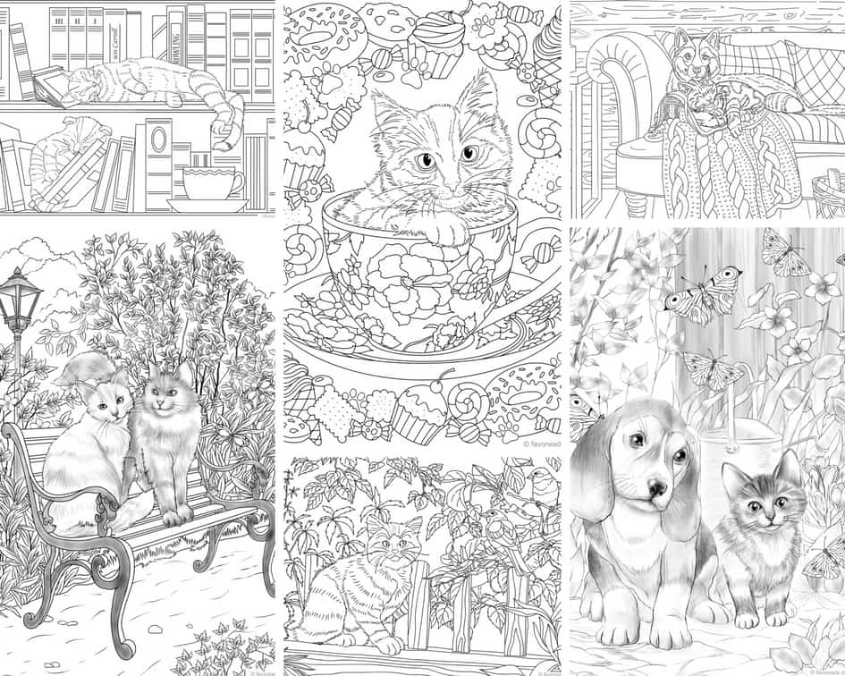 Cats and Dogs - 10 Coloring Pages - Favoreads Coloring Club